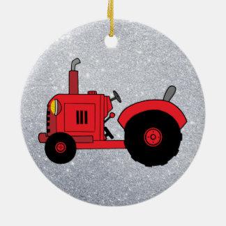 ornement rouge vintage de tracteur
