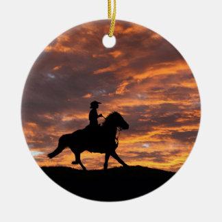 Ornement rustique de Noël de cowboy et de cheval