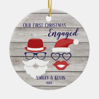 Ornement rustique drôle de Noël de lèvres de