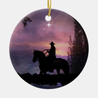 Ornement rustique occidental de Noël de cowboy de