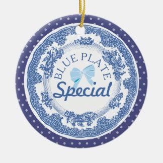 ornement spécial de Noël de plat bleu fait sur
