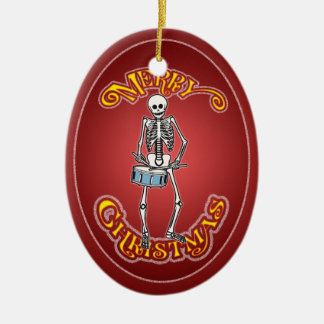 Ornement squelettique de Noël de batteur