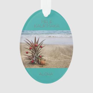 Ornement tropical de Noël d'ananas de plage