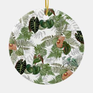 Ornement tropical de Noël de fleurs de fougères