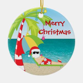 Ornement tropical de Noël de palmier de Père Noël