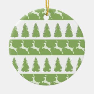 Ornement vert d'arbre de renne et de Noël