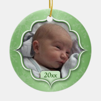 Ornement vert de photo de premier Noël du bébé