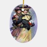 Ornement vintage de Noël de soeurs