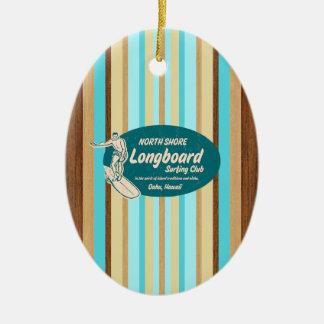 Ornement vintage de planche de surf de