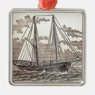 Ornement vintage de schooner de flétan