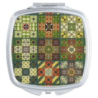 Ornement vintage de talavera de mosaïque miroir compact