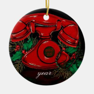 Ornement vintage de téléphone de Noël