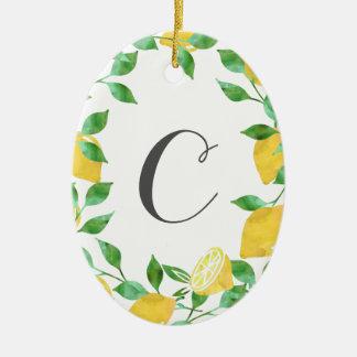 Ornement vintage d'initiale de citron d'aquarelle