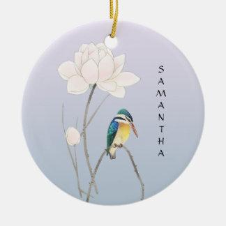 Ornement vintage japonais de Lotus de monogramme