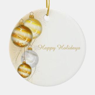 Ornements blancs de boule d'or de Noël