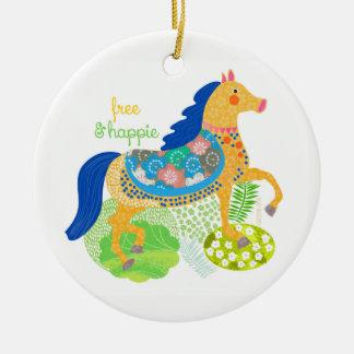 Ornements bleus de Noël de cheval