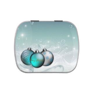 Ornements bleus de vacances boites de bonbons jelly belly