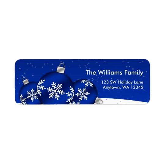 Ornements de flocon de neige de Noël bleu et blanc Étiquette D'adresse Retour