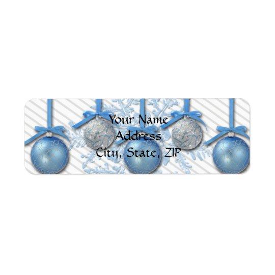 Ornements de parties scintillantes de bleu et étiquette d'adresse retour