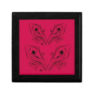 Ornements folkloriques noirs rouges de luxe petite boîte à bijoux carrée