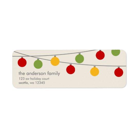 Ornements modernes de Noël de vacances Étiquette D'adresse Retour