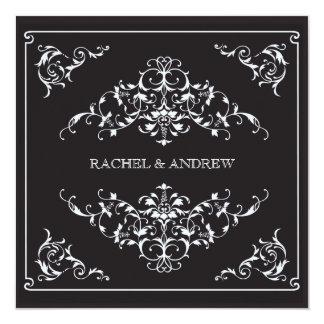 Ornements romantiques épousant le noir carton d'invitation  13,33 cm