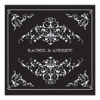 Ornements romantiques épousant le noir carton d'invitation