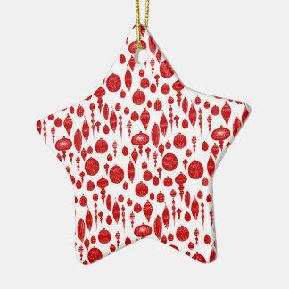 Ornements rouges vintages de Noël sur le blanc