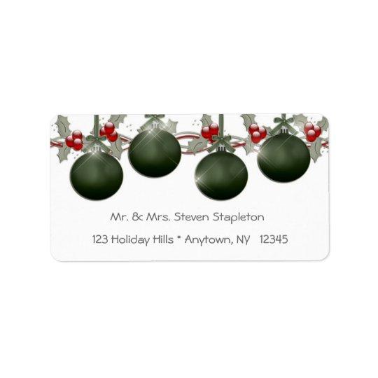 Ornements verts de houx étiquette d'adresse