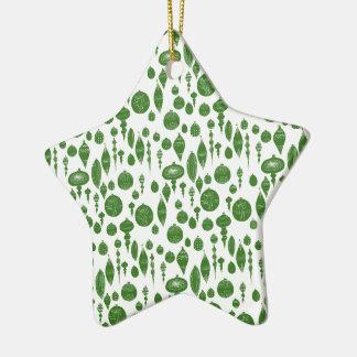 Ornements verts vintages de Noël sur le blanc