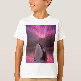 Orque d'épaulard et lumières du nord roses/magenta t-shirt