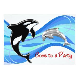 Orque et dauphin dans les vagues carton d'invitation  12,7 cm x 17,78 cm