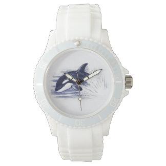 Orque ouvrant une brèche le bleu montre
