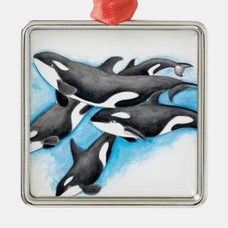 orques dans le bleu ornement carré argenté