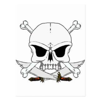 Os 2 de crâne et de croix de pirate cartes postales