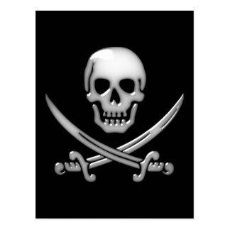 Os croisés vitreux de crâne et d'épée de pirate carte postale