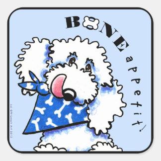 Os de chien Appetit ! Bleu en acier gastronome Sticker Carré