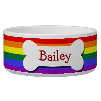 Os de chien de gay pride d'arc-en-ciel gamelle pour chien