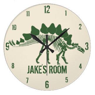 Os de dinosaure personnalisés grande horloge ronde