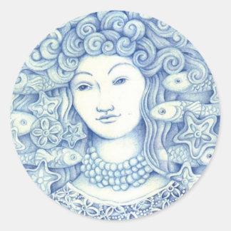 Oshun Bleue Sticker Rond
