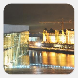 Oslo, Norvège la nuit Sticker Carré
