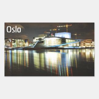 Oslo, Norvège la nuit Sticker Rectangulaire