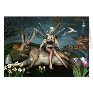 Ostara Fae et carte de voeux de lièvres de mars