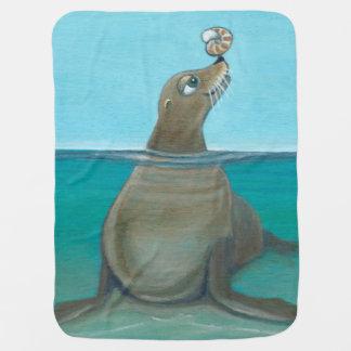 """Otarie espiègle """"de vie marine idiote"""" couvertures pour bébé"""