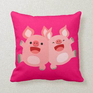 OUAIS ! ! Carreau mignon de porcs de bande dessiné Oreiller