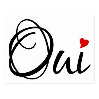 Oui, oui, art français de mot avec le coeur rouge carte postale