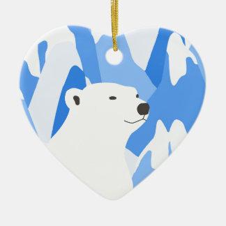 Ours blanc dans la conception froide ornement cœur en céramique