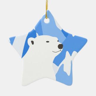 Ours blanc dans la conception froide ornement étoile en céramique