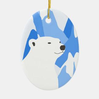 Ours blanc dans la conception froide ornement ovale en céramique