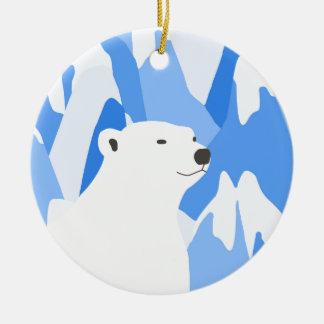 Ours blanc dans la conception froide ornement rond en céramique